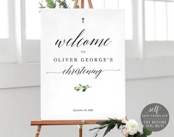 Christening Welcome Sign Template, Greenery Christening Signage, Instant Download, 100% Editable Christening Printable, TRY BEFORE You BUY