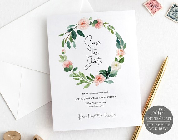 Save the Date Template, Floral Greenery, Editable Instant Download, TRY BEFORE You BUY
