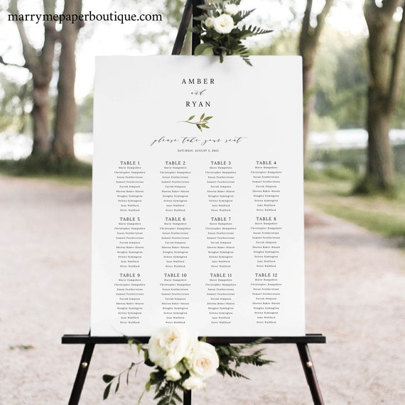 Greenery Seating Chart Template, Green Leaf Wedding Seating Plan Printable, Templett Editable, Instant Download