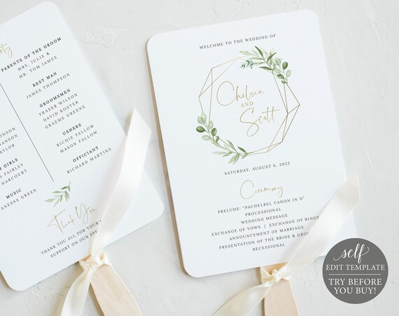 Wedding Program Fan Template, Greenery & Gold, Demo Available, Editable Printable Instant Download, Templett