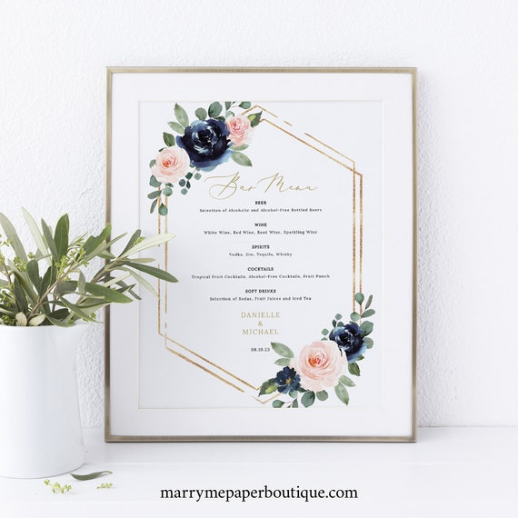 Bar Menu Template, Navy & Blush Floral, Wedding Drinks Menu Printable, Editable Wedding Bar Menu, Templett INSTANT Download