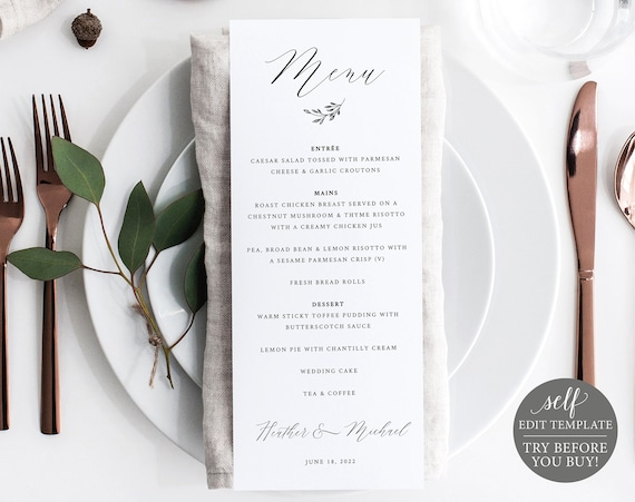 Wedding Menu Template, Delicate Script, FREE Demo Available, Editable Instant Download
