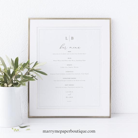 Bar Menu Template, Monogram & Border, Wedding Drinks Menu, Printable, Wedding Bar Menu, Editable, Templett INSTANT Download