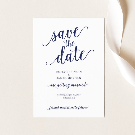Save the Date Card Template, Navy Script Font, Printable Save Our Date Card, Editable, Templett INSTANT Download