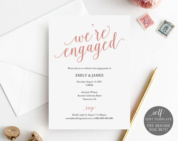 Engagement Party Invite Template, Rose Gold Script, TRY BEFORE You BUY, 100% Editable Instant Download