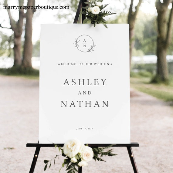 Wedding Welcome Sign Template, Circle Monogram, Editable & Printable Sign, Try Before Purchase, Templett Instant Download