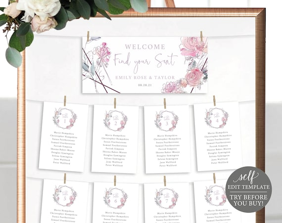 Seating Cards Template with Header Card, Pink & Lilac Floral, TRY BEFORE You BUY, Editable Instant Download
