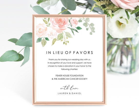 Floral Wedding In Lieu of Favors Sign Template, Printable In Lieu of Favors Sign Template, Wedding Printable, PDF Instant Download, MM08-3