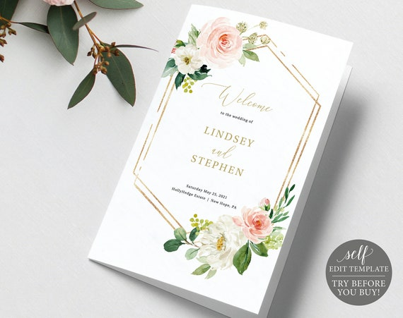 Wedding Program Template Folded, Editable Instant Download, Pink Floral Hexagonal, TRY BEFORE You BUY!