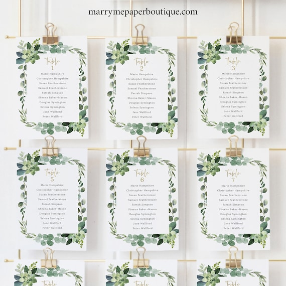 Seating Chart Cards Template, Lush Greenery, Seating Plan Printable, Editable Seating Cards, Templett INSTANT Download