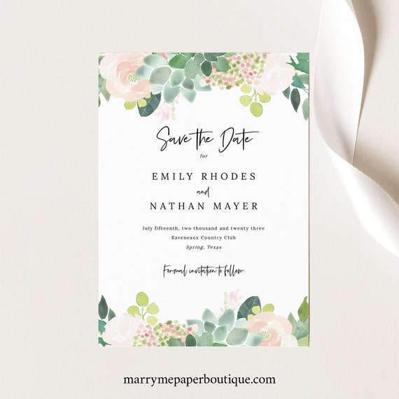 Succulent Floral Save the Date Card Template, Greenery Save Our Date, Printable, INSTANT Download, Templett, Editable