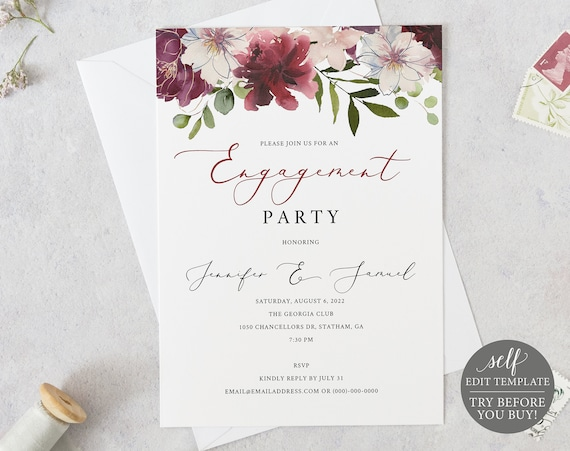 Engagement Party Invitation Template, Burgundy Floral, Order Edit & Download In Minutes, Try Before Purchase
