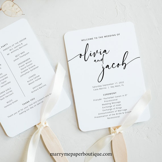 Wedding Program Fan Template, Modern Calligraphy, Instant Download, Try Before You Buy, Editable & Printable