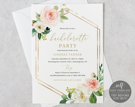 Bachelorette Party Invitation Template, Editable Instant Download, TRY BEFORE You BUY, Blush Floral Hexagonal