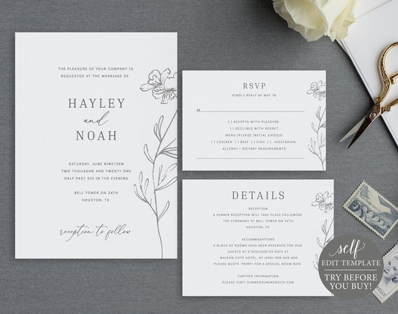 Wedding Invitation Set Templates, Elegant Botanical, 100% Editable Instant Download, TRY BEFORE You BUY