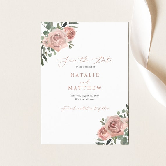 Save the Date Template, Dusky Pink Floral, Save Our Date Card Printable, Templett INSTANT Download, Editable
