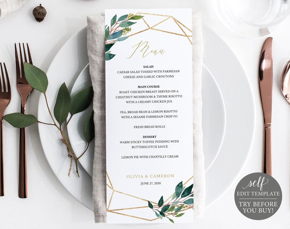 TRY BEFORE You BUY! Wedding Menu Template, 100% Editable, Menu Printable, Instant Download