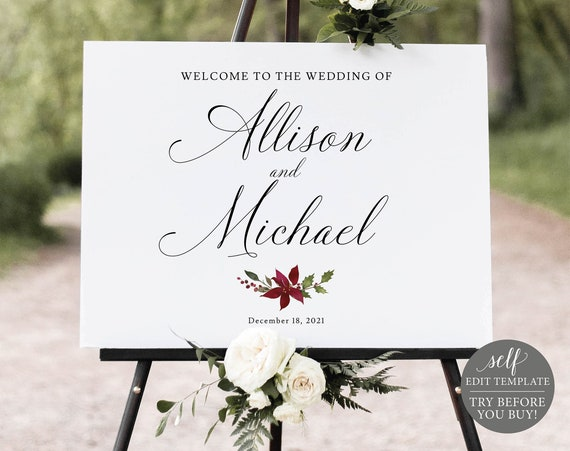 Wedding Welcome Sign Template, Editable Instant Download, TRY BEFORE You BUY, Christmas Design