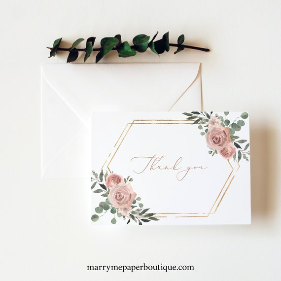 Thank You Card Template, Dusky Pink Floral, Folded, Printable Thank You Card, Templett INSTANT Download, Editable