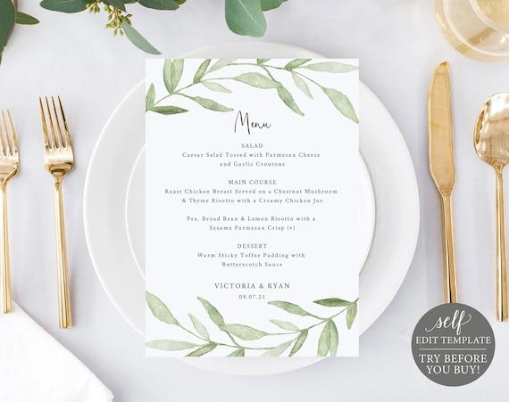 Wedding Menu Template, Greenery Leaves,  Editable Instant Download, TRY BEFORE You BUY