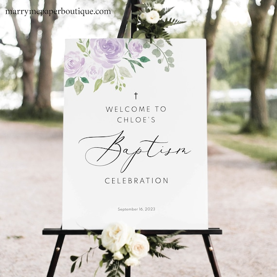 Baptism Welcome Sign Template, Mauve & Lilac Floral, Editable Instant Download, TRY BEFORE You BUY