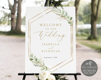 Wedding Welcome Sign Template, Greenery Hexagonal, Order Edit & Download In Minutes, Try Before Purchase