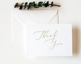Thank You Card Template, Elegant Script Gold, Editable & Printable Instant Download, Templett