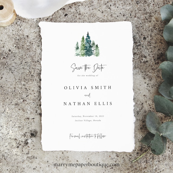 Save the Date Card Template, Rustic Pine Forest, Save Our Date, Pine Tree, INSTANT Download, Printable, Editable, Templett