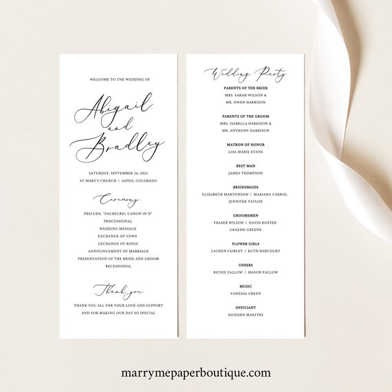 Wedding Program Template, TRY BEFORE You BUY, Printable Order of Service, Instant Download,  Editable, 3.5x8.5, Ceremony Program
