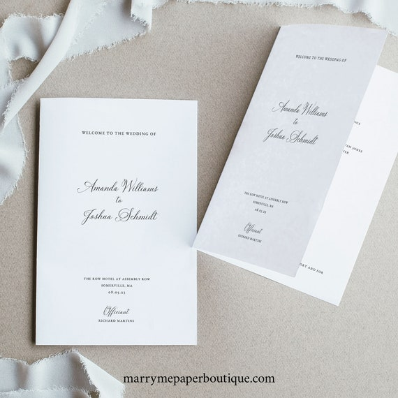 Elegant Wedding Program Template, Traditional, Calligraphy, Folding Program, Printable, Fully Editable, Templett INSTANT Download
