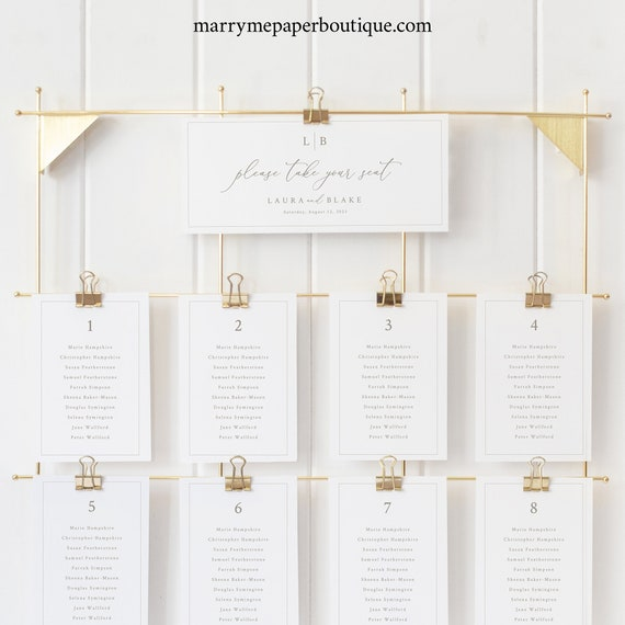 Seating Chart Cards Template, Monogram & Border, Wedding Seating Cards, Printable, Editable, Templett INSTANT Download