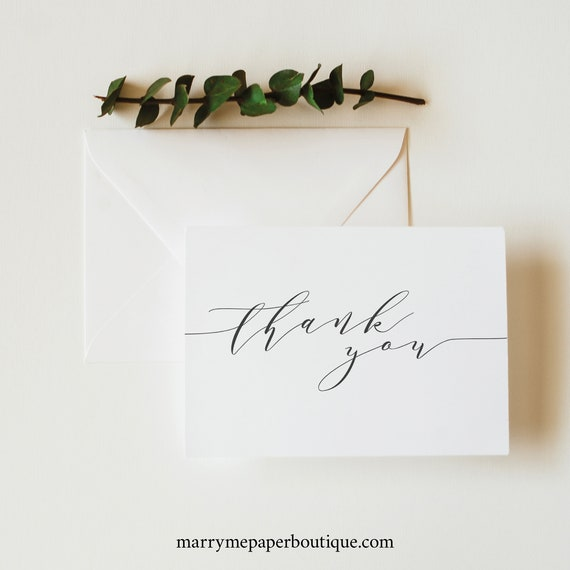 Elegant Thank You Card Template, Modern Folded Card, Printable, Templett Editable, Instant Download