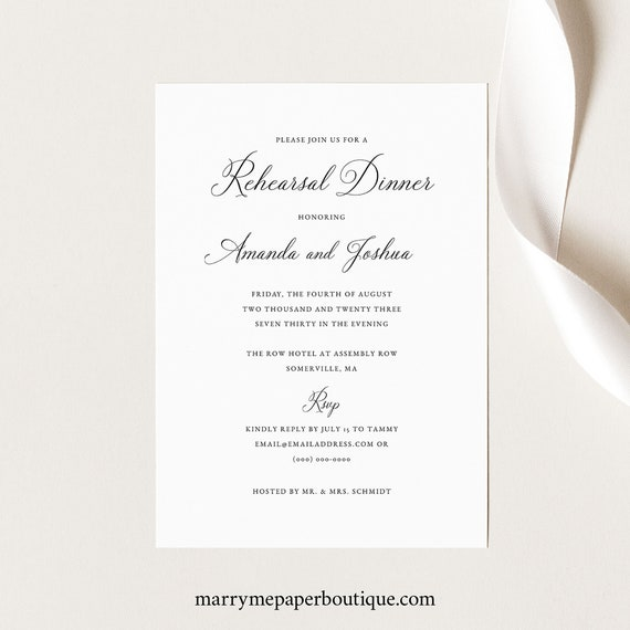 Rehearsal Dinner Invitation Template, Calligraphy, Traditional Wedding Rehearsal Dinner Invite, Printable, Templett INSTANT Download