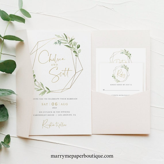 Wedding Invitation Template Set, Greenery Gold, Try Before Purchase, Editable & Printable, Instant Download, Pocket Style