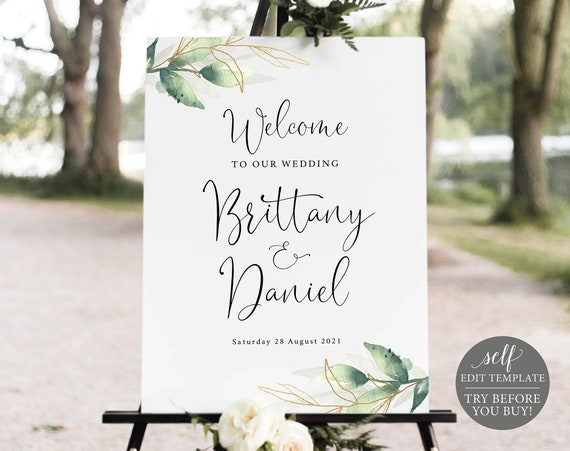 Wedding Welcome Sign Template, Greenery & Gold, Editable Instant Download, FREE Demo Available