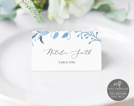 Place Card Template, TRY BEFORE You BUY, Fully Editable Instant Download, Blue Foliage