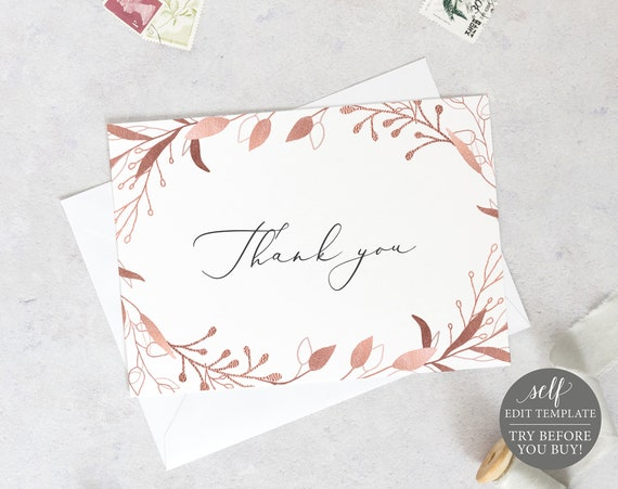 Thank You Card Template Fold, Rose Gold Foliage, Editable Instant Download, TRY BEFORE You BUY