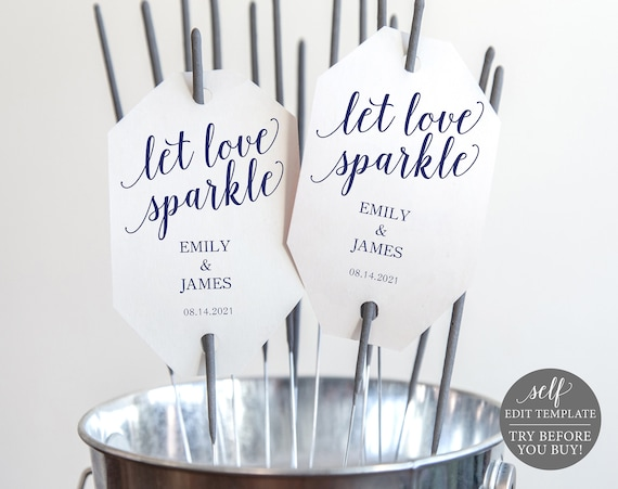 Navy Wedding Sparkler Tag Template, Let Love Sparkle, Editable Wedding Sparkler Tags, Printable Sparkler Tags, Instant Download