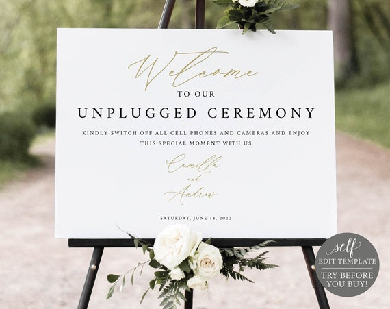 Unplugged Ceremony Sign Template, Stylish Script Gold, Demo Available, Editable & Printable Instant Download, Templett
