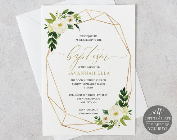 Baptism Invitation Template, Editable Instant Download, TRY BEFORE You BUY, White Floral Geometric