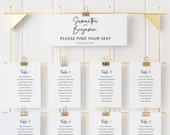 Minimalist Seating Chart Cards Template, Modern Calligraphy, Seating Chart Printable, Templett INSTANT Download, Fully Editable