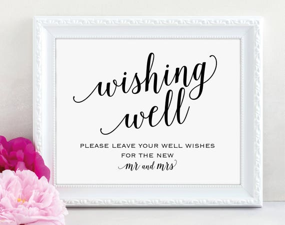 Wishing Well Sign, Wedding Sign, Wedding Printable Sign, Wishing Well, Wedding Template, Mr & Mrs Sign, DIY, PDF Instant Download, MM01-1