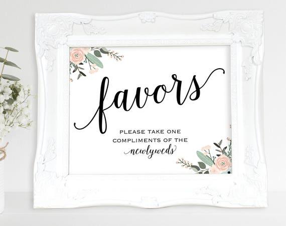 Floral Wedding Favor Sign, Newlyweds, Favors Sign, Wedding Favor Printable, Wedding Printable, Wedding Favor, PDF Instant Download, MM01-6