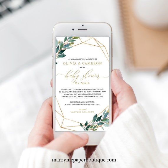 Baby Shower By Mail Template, Editable Electronic Text Invitation, Templett Instant Download, Greenery Geometric Design