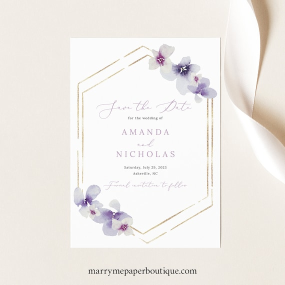 Save the Date Template, Delicate Lilac Flowers, Save Our Date Card, Printable, Editable, Purple Hydrangea, Templett INSTANT Download