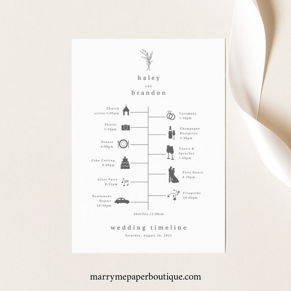 Wedding Timeline Card Template, Modern Rustic, Wedding Itinerary Card, Printable, Fully Editable, Templett INSTANT Download