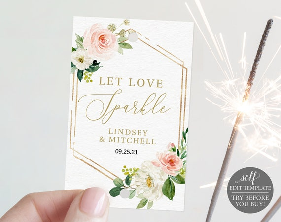 Sparkler Tag Template, Editable Instant Download, TRY BEFORE You BUY, Blush Floral Hexagonal