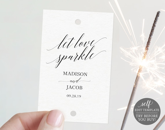 Sparkler Tag Template,  Editable Instant Download, TRY BEFORE You BUY, Elegant Calligraphy