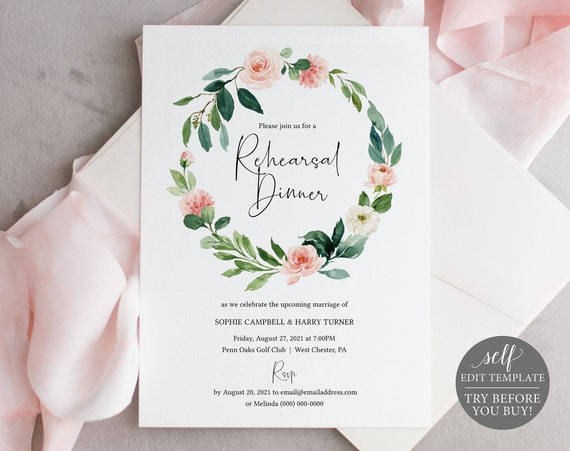 Rehearsal Dinner Invitation Template, Floral Greenery, TRY BEFORE You BUY, Editable Instant Download