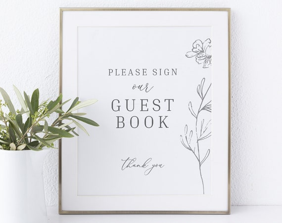 Guest Book Sign Template, Non-Editable Instant Download, Botanical Floral